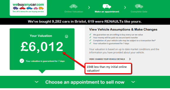 Sell My Car for cash updated valuations page