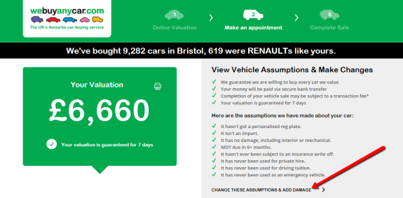 sell my car online valuations screenshot image
