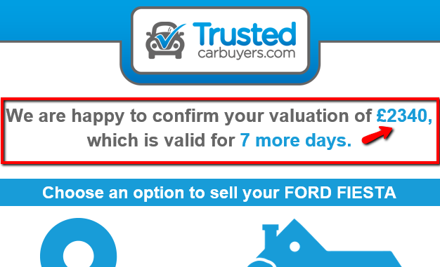 website quotation from Trusted Car Buyers
