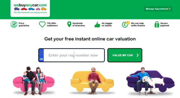 buy my car buying services screenshot of home page