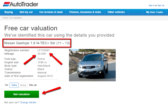 value my car image from Autotrader website