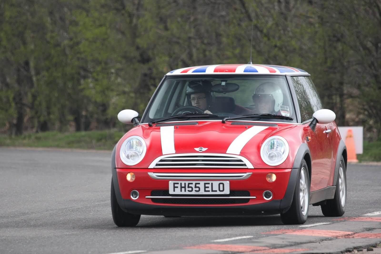 A red Mini Cooper