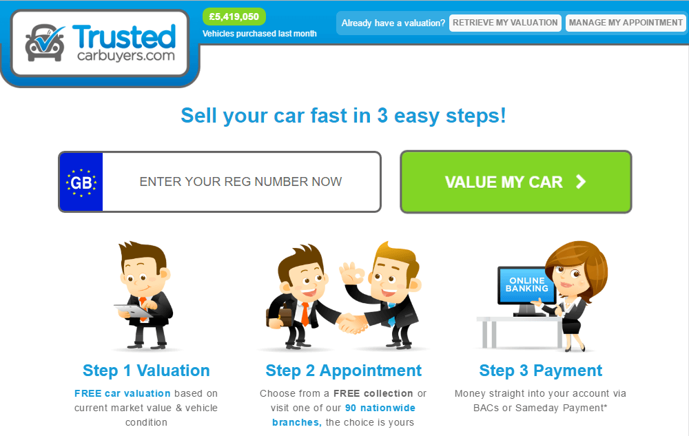 screen capture image of Trusted Car Buying services