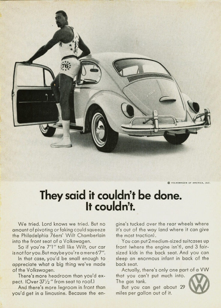 classic VW Beetle print ad with basketball player