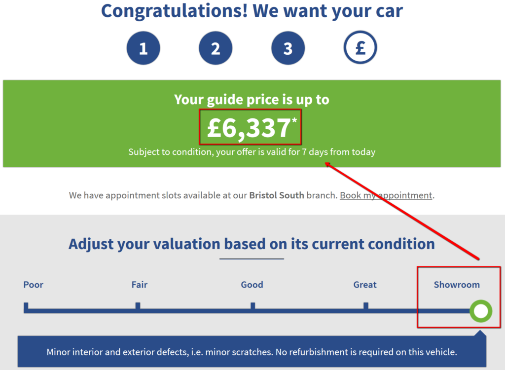 online car valuation based on showroom condition