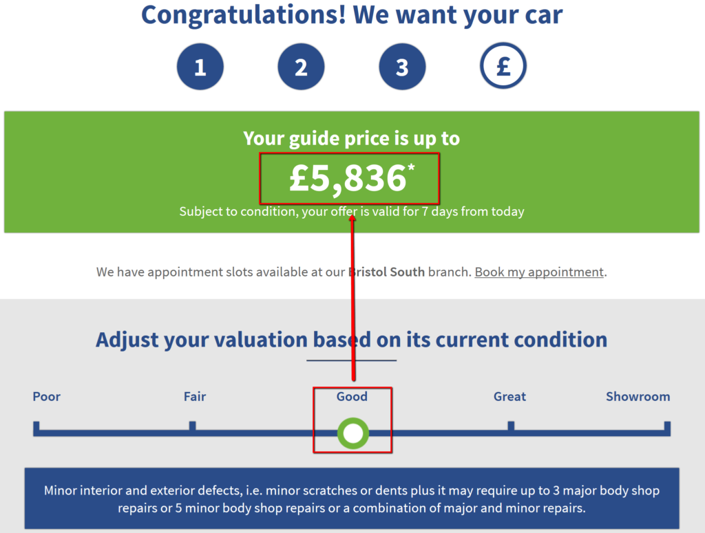 online car valuation based on good to fair vehicle condition