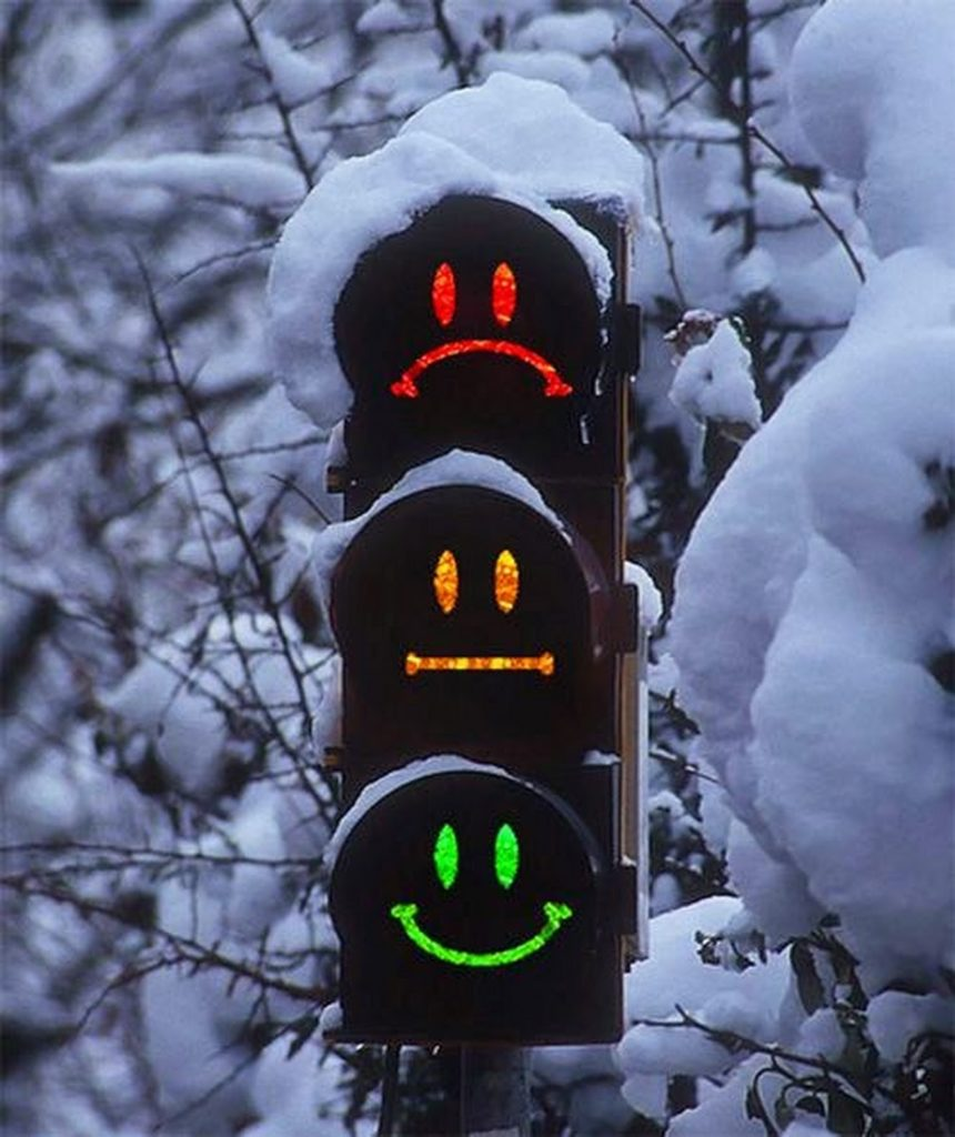 traffic lights made with faces for funny uk motorists