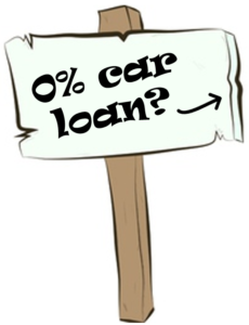 0 interest car loans sign directing readers to the buying a car on credit car article